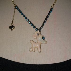 Betsey Johnson white deer necklace